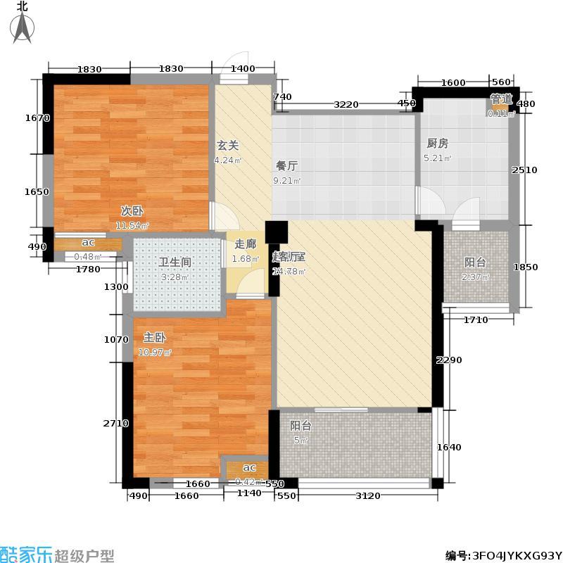 东风阳光城黄馨苑88.25㎡3、4、5栋F2户型