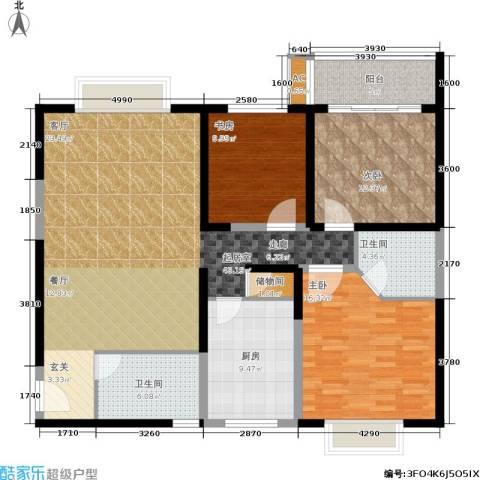 菁华名门二期(华信世纪花园)3室0厅2卫1厨122.00㎡户型图