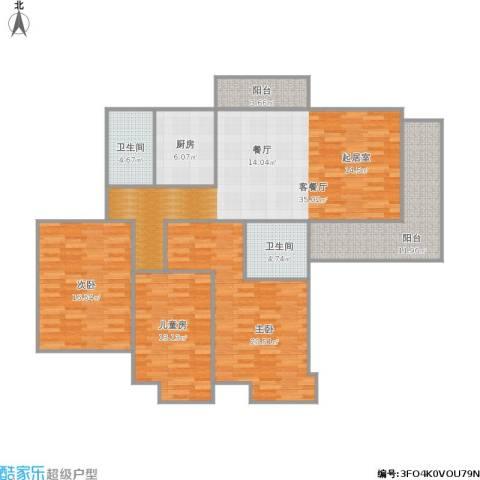 东湖大郡3室1厅2卫1厨157.00㎡户型图