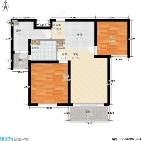 明天华城2室0厅1卫1厨91.00㎡户型图
