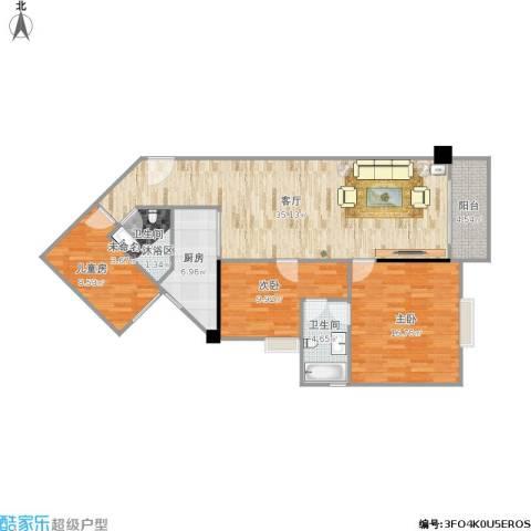 平苑小区3室1厅1卫1厨121.00㎡户型图
