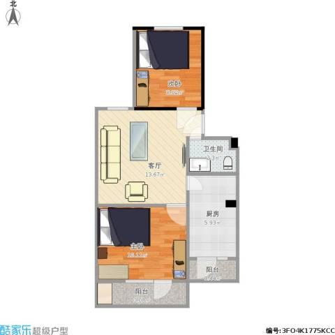 双峪小区2室1厅1卫1厨48.97㎡户型图