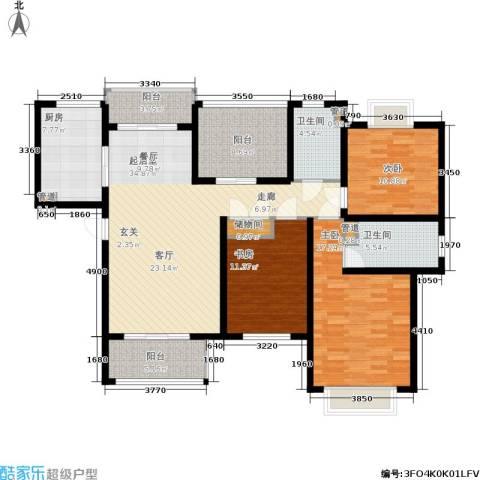 明天华城3室0厅2卫1厨128.00㎡户型图