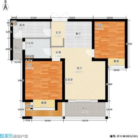 明天华城2室0厅1卫1厨89.00㎡户型图