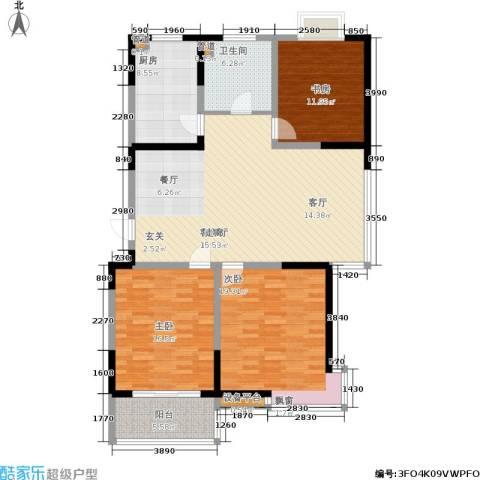华都馨苑3室1厅1卫1厨121.51㎡户型图