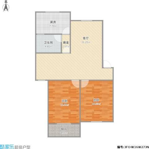 启园新村2室1厅1卫1厨104.00㎡户型图