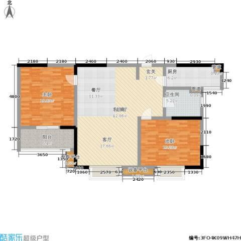 华都馨苑2室1厅1卫1厨110.00㎡户型图