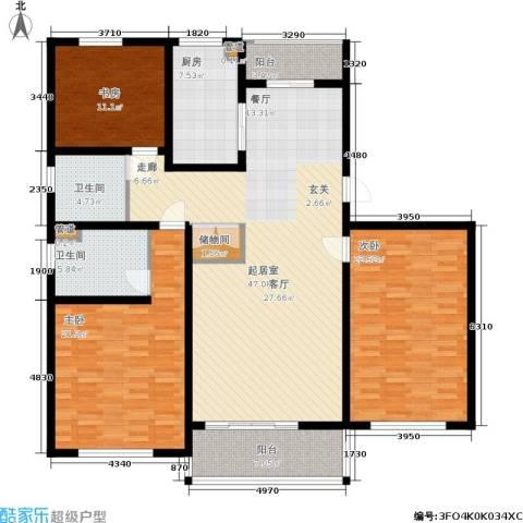 明天华城3室0厅2卫1厨150.00㎡户型图