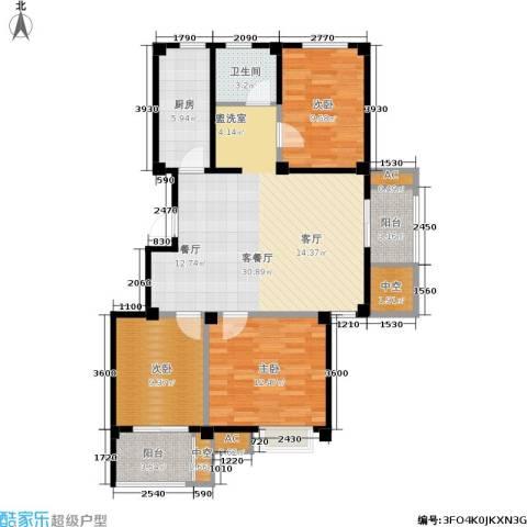 兆地尊庭3室1厅1卫1厨99.00㎡户型图