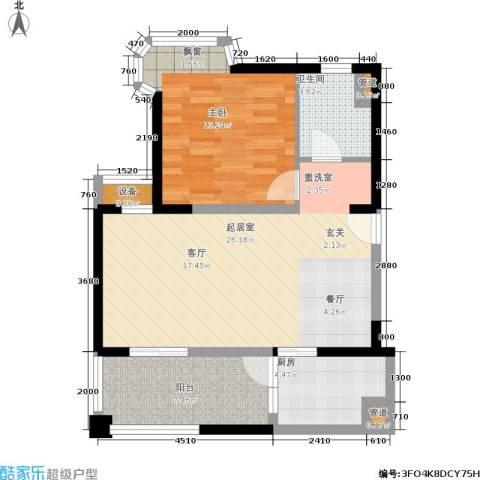 世嘉国际华城二期1室0厅1卫1厨81.00㎡户型图