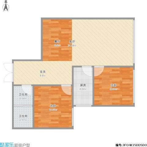 首创・象墅2室1厅2卫1厨86.00㎡户型图