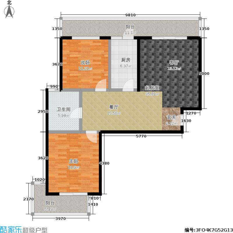 德祥6院102.00㎡德祥6院 D户型2室2厅1卫户型