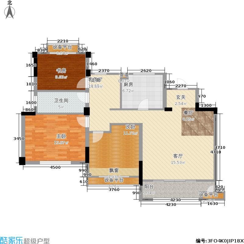 金地松江艺境103.00㎡洋房A6六层平面图户型