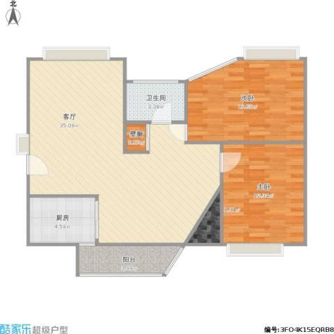 奥体新城海棠园2室1厅1卫1厨101.00㎡户型图