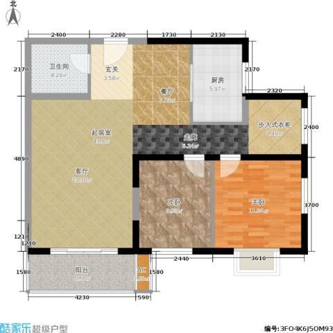 菁华名门二期(华信世纪花园)2室0厅1卫1厨107.00㎡户型图