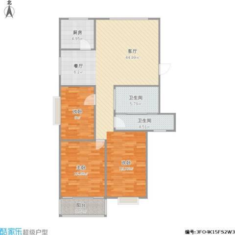 兴元嘉园2室1厅2卫1厨115.00㎡户型图