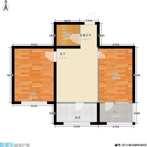 天缘水晶恋城2室1厅1卫1厨57.00㎡户型图