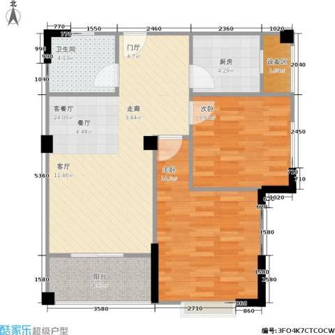 华泉盛世豪庭2室1厅1卫1厨87.00㎡户型图