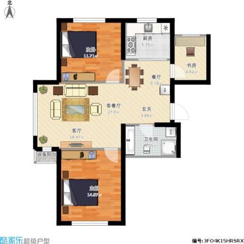鼎力叶知林3室1厅1卫1厨97.00㎡户型图