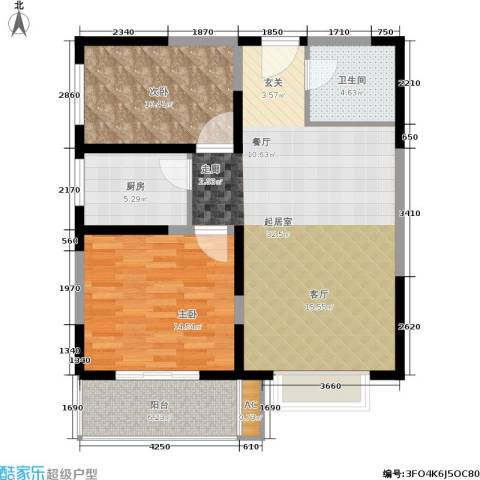 菁华名门二期(华信世纪花园)2室0厅1卫1厨84.00㎡户型图
