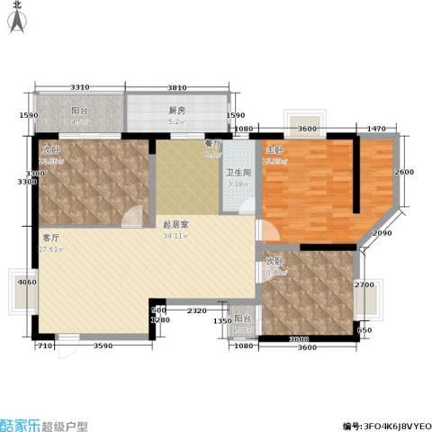 欧亚大厦(经开观澜港)3室0厅1卫1厨99.80㎡户型图