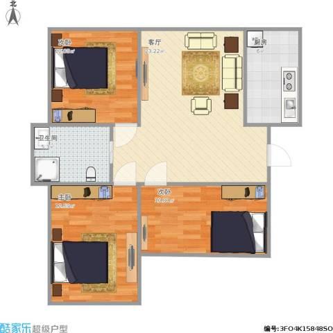 凯顺佳园3室1厅1卫1厨91.00㎡户型图