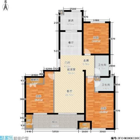 浦江坤庭3室0厅2卫1厨130.00㎡户型图