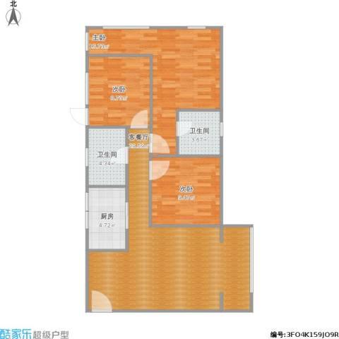 万象春天3室1厅2卫1厨105.00㎡户型图