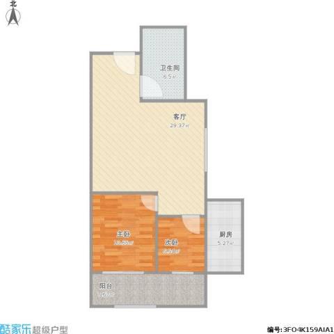 水峪花苑2室1厅1卫1厨88.00㎡户型图
