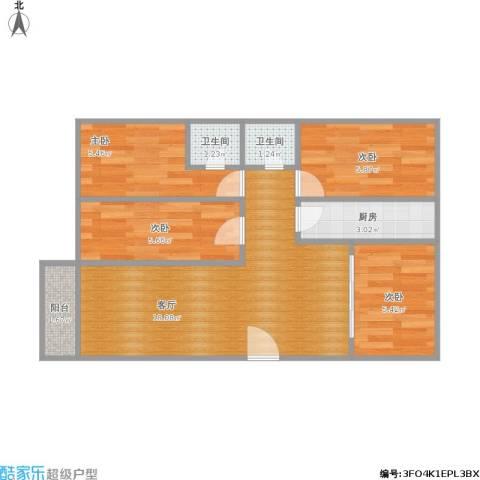 健康花城4室1厅2卫1厨66.00㎡户型图