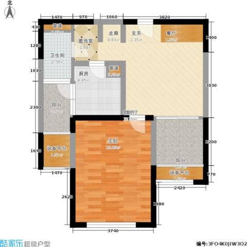 嘉实上城名都1室1厅1卫1厨63.00㎡户型图