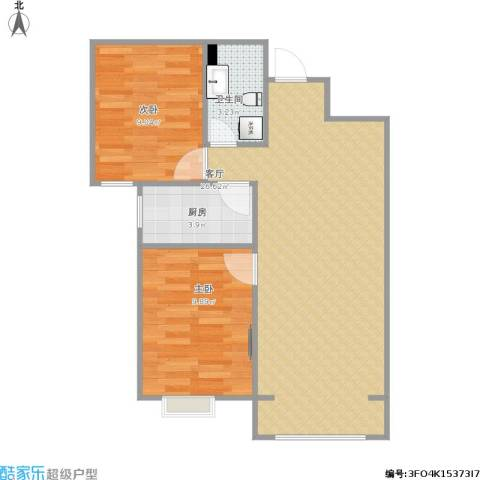 珠光御景北京2室1厅1卫1厨71.00㎡户型图