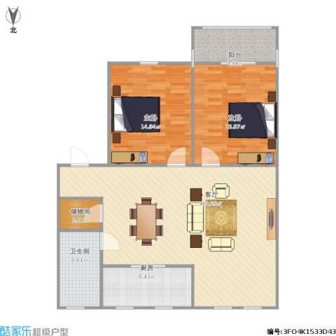东兴小区2室1厅1卫1厨119.00㎡户型图