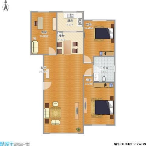 金港翠园3室1厅1卫1厨120.00㎡户型图