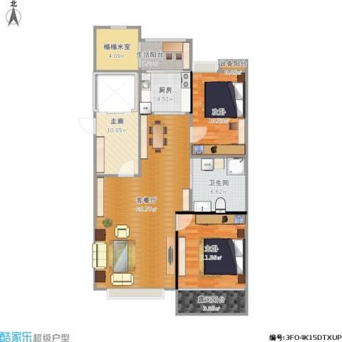 和顺中央花城2室1厅1卫1厨113.00㎡户型图