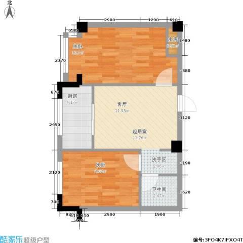 亿丰壹号公馆2室0厅1卫1厨62.00㎡户型图