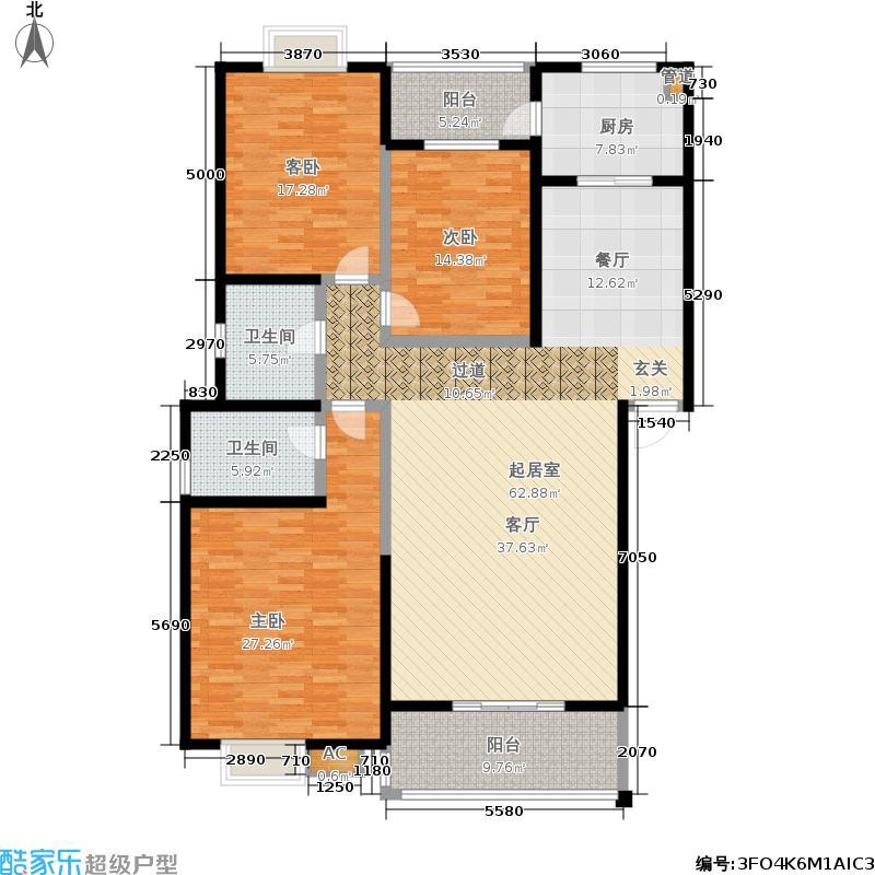 �鑫・宅院户型3室2卫1厨