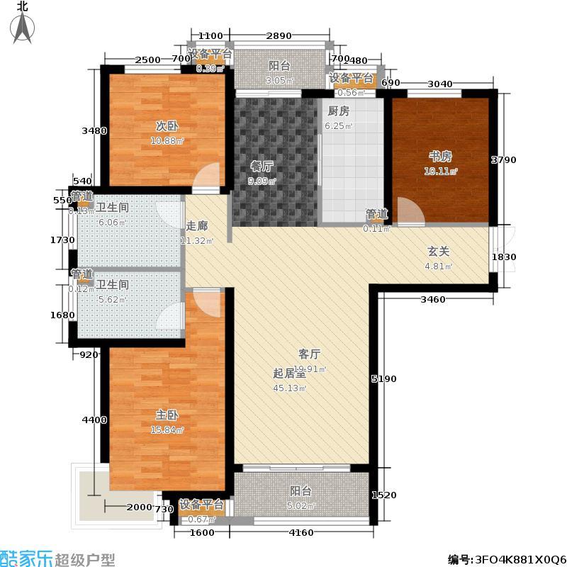 盛泰家园143.88㎡B1户型 3室2厅2卫143.88平户型3室2厅2卫
