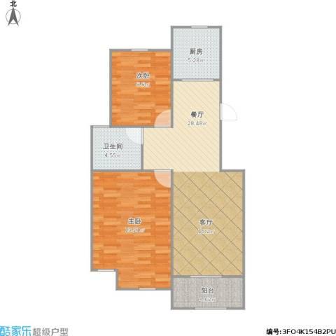 胥江华庭2室1厅1卫1厨95.00㎡户型图