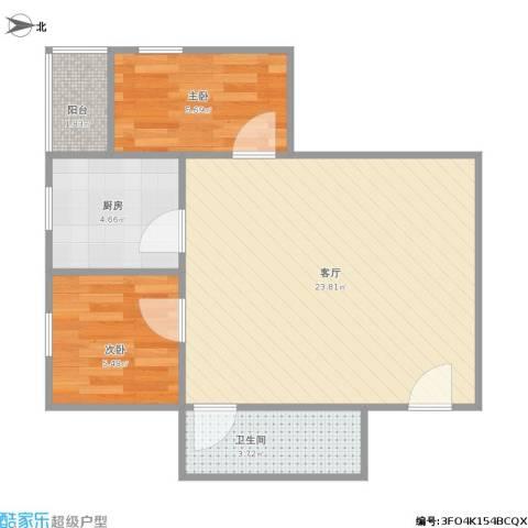 景泰花苑小区2室1厅1卫1厨61.00㎡户型图