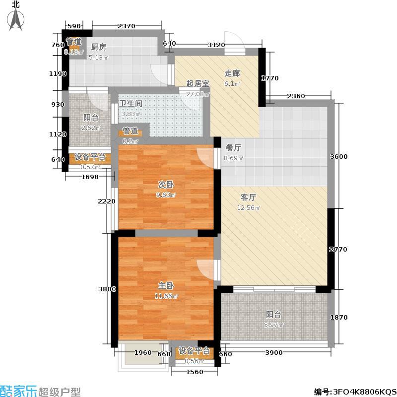 南陵碧桂园J475T-C户型2室1卫1厨