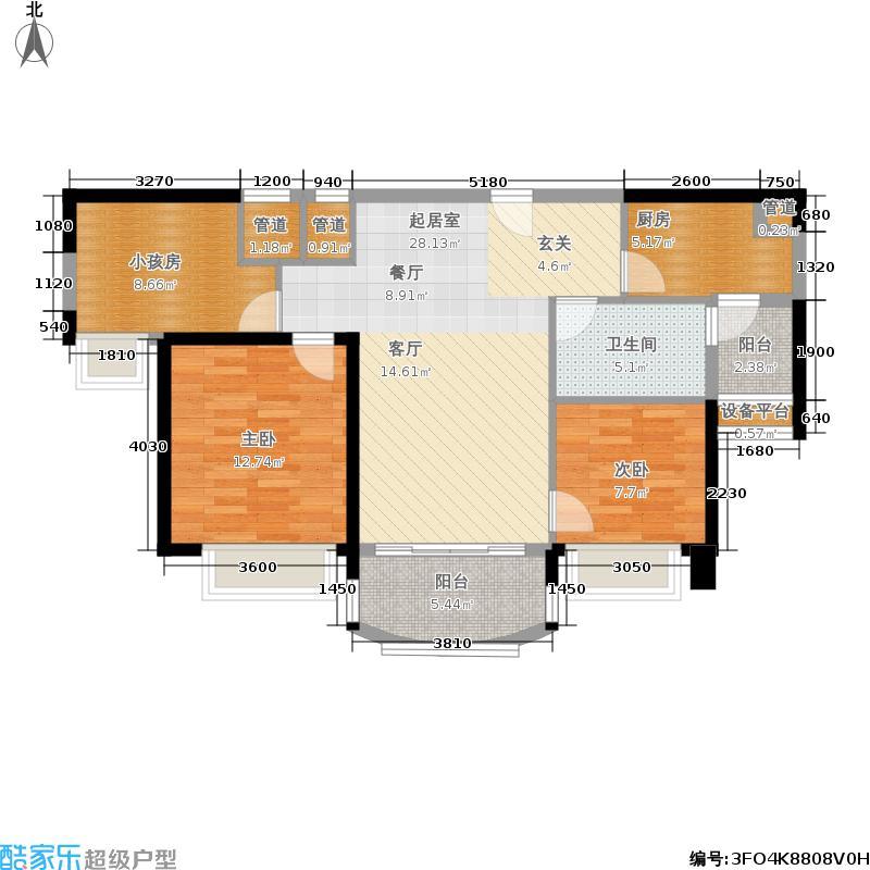 南陵碧桂园J472T-B户型2室1卫1厨