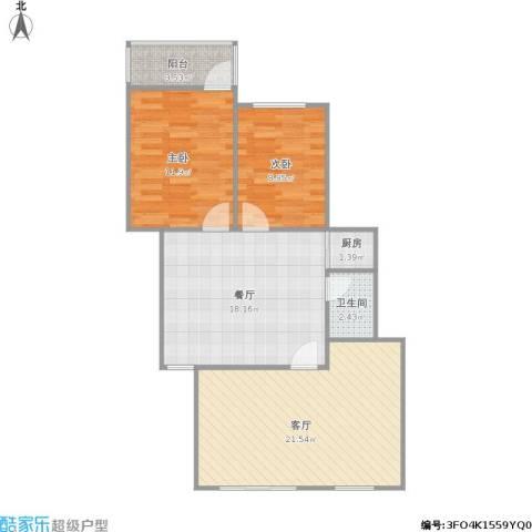 百水芊城秀水坊2室2厅1卫1厨91.00㎡户型图