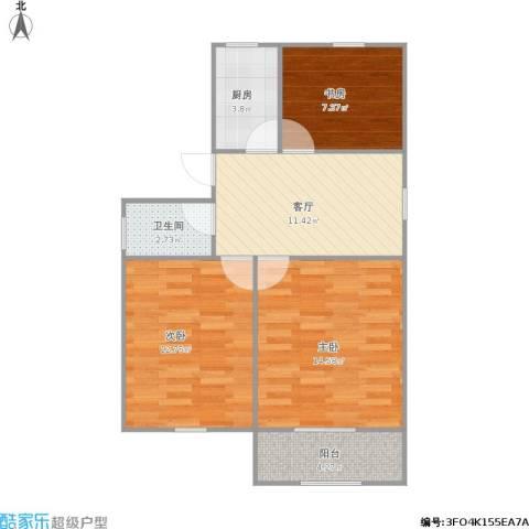 象牙新村3室1厅1卫1厨76.00㎡户型图