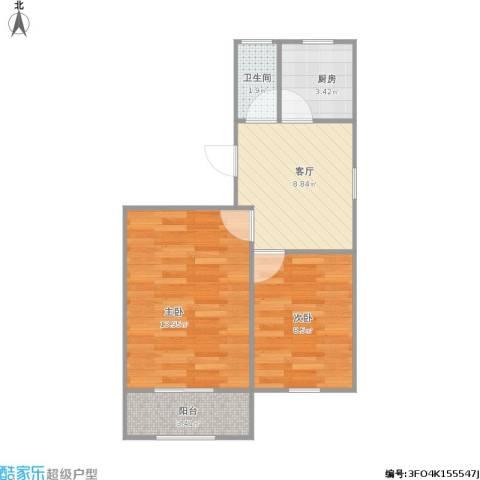 盘溪新村2室1厅1卫1厨54.00㎡户型图