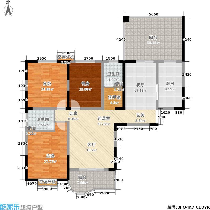 大唐银座公馆161.48㎡D户型三房两厅两卫户型3室2厅2卫
