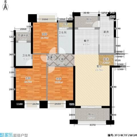 宁德万达广场3室1厅2卫1厨125.00㎡户型图