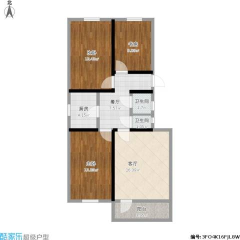 安外东河沿小区3室2厅2卫1厨97.00㎡户型图