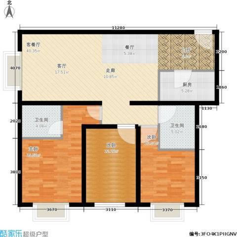 东洲家园3室1厅2卫1厨105.00㎡户型图