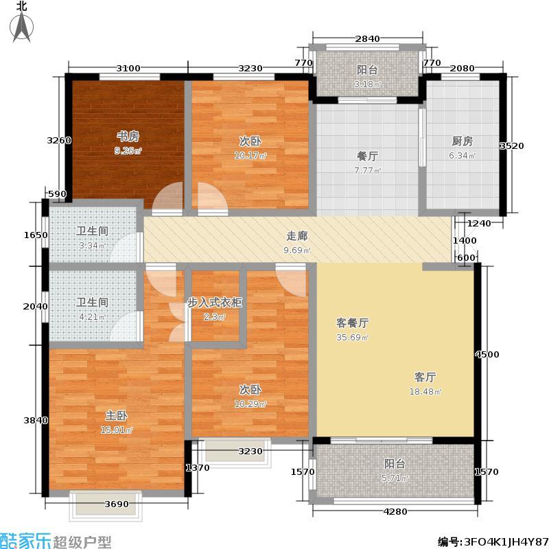 曲江风景线153.20㎡F1户型4室2厅